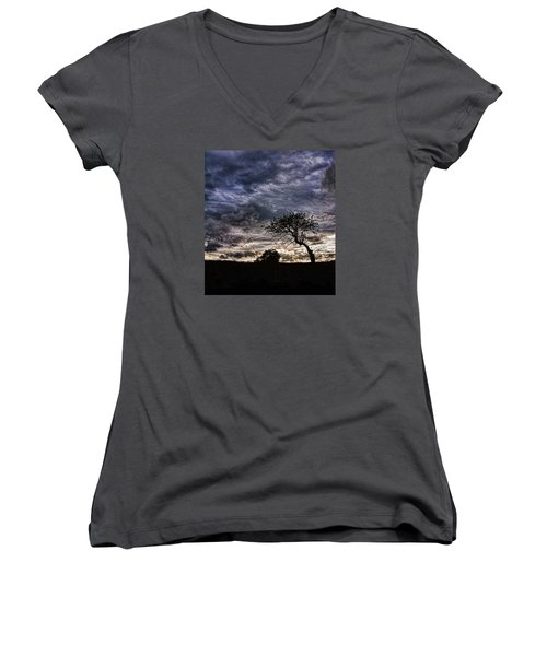 Nova Scotia's Lonely Tree Before The Storm  Women's V-Neck T-Shirt