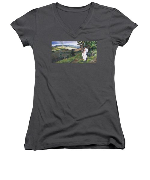Beginnings Women's V-Neck T-Shirt (Junior Cut) by Lori Brackett