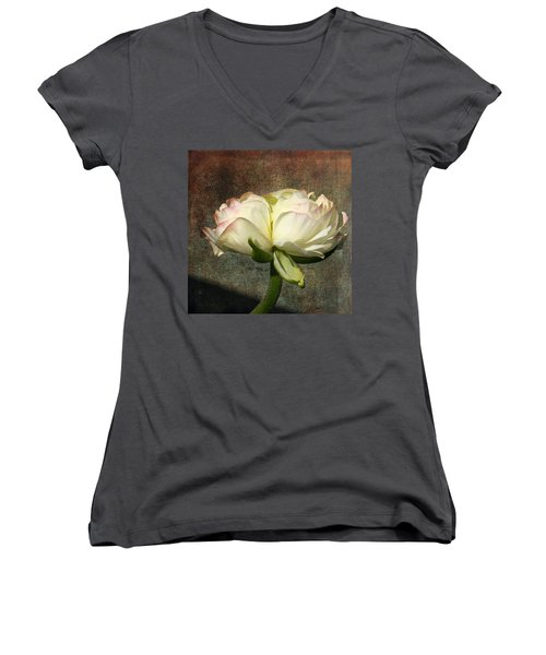 Begonia With A Tint Of Pink Women's V-Neck T-Shirt (Junior Cut) by Denyse Duhaime