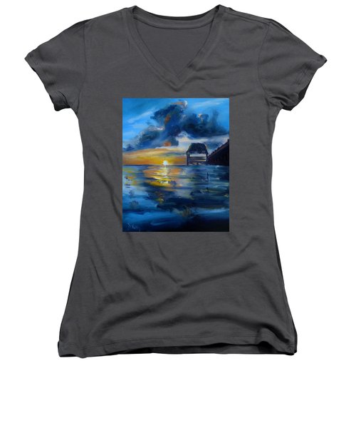Belizean Sunrise Women's V-Neck (Athletic Fit)