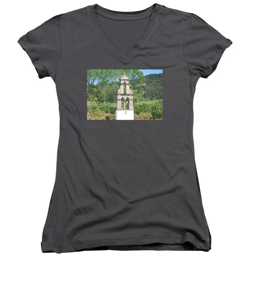 Women's V-Neck T-Shirt (Junior Cut) featuring the photograph Bell Tower 1584 1 by George Katechis