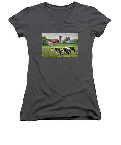 Belleville Cows Women's V-Neck T-Shirt (Junior Cut) by Lori Deiter