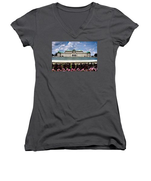 Women's V-Neck T-Shirt (Junior Cut) featuring the photograph Belvedere Palace by Joe  Ng
