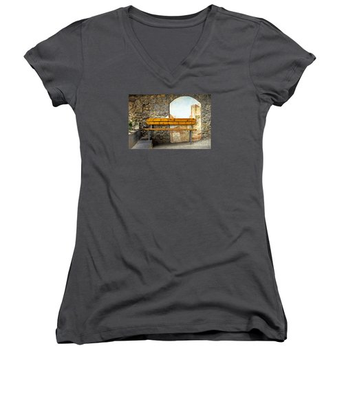 Bench In Riomaggiore Women's V-Neck T-Shirt