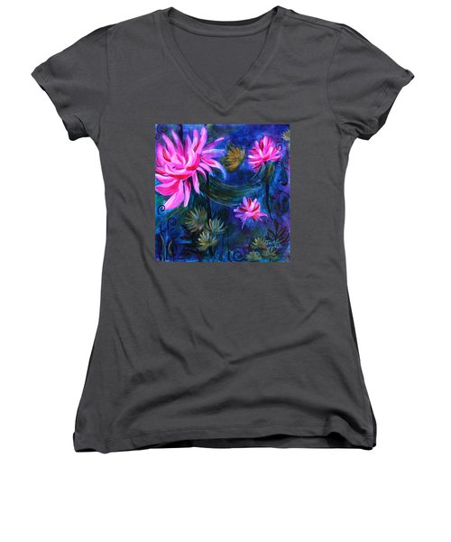 Beneath Dark Lotus Waters Women's V-Neck T-Shirt