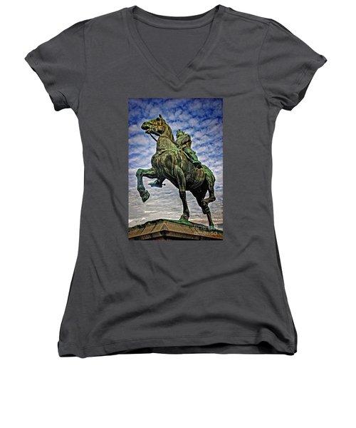 Women's V-Neck T-Shirt (Junior Cut) featuring the photograph Bertrand Du Guesclin by Elf Evans