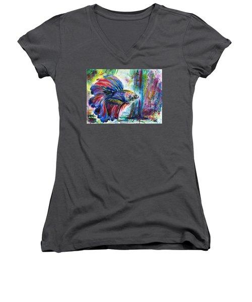 Betta Women's V-Neck T-Shirt (Junior Cut) by Zaira Dzhaubaeva