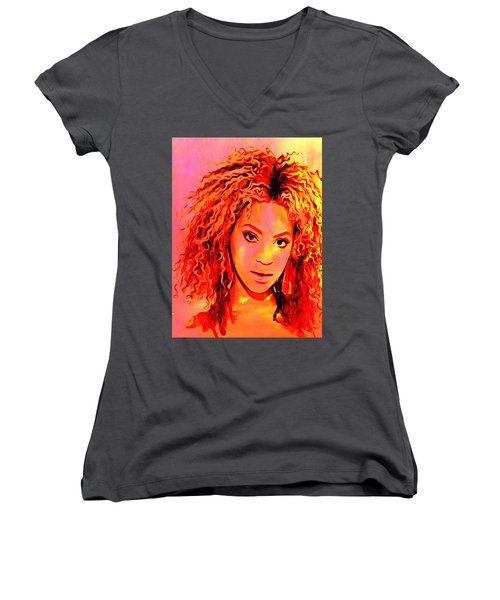 Women's V-Neck T-Shirt (Junior Cut) featuring the painting Beyonce by Brian Reaves