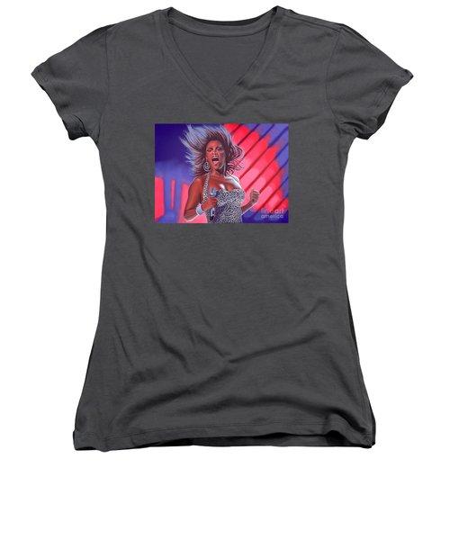 Beyonce Women's V-Neck T-Shirt (Junior Cut) by Paul Meijering