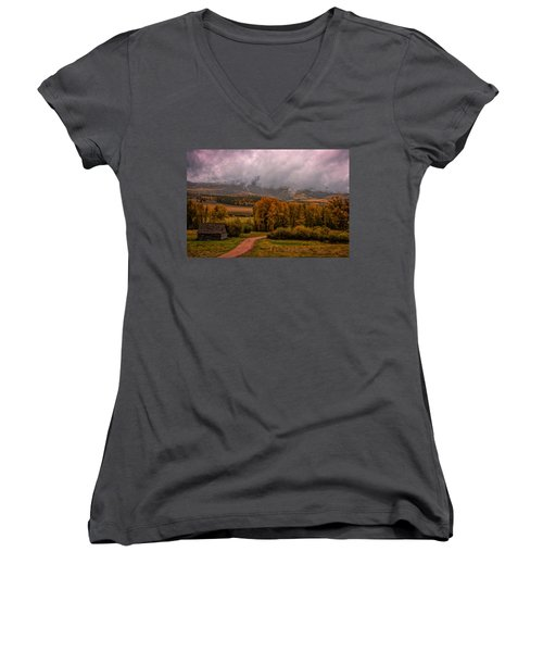 Women's V-Neck T-Shirt (Junior Cut) featuring the photograph Beyond The Road by Ken Smith