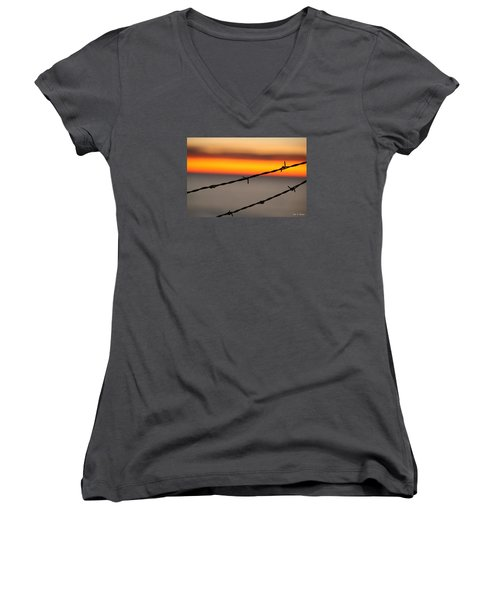 Beyond The Wire Women's V-Neck T-Shirt (Junior Cut) by Amy Gallagher