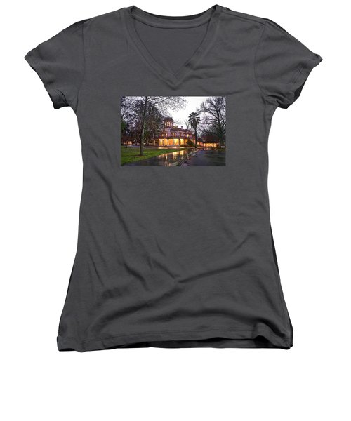 Bidwell Mansion In The Rain  Women's V-Neck (Athletic Fit)