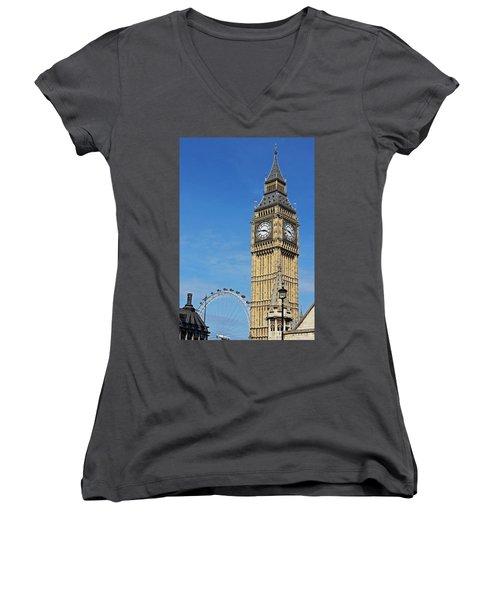 Big Ben And London Eye Women's V-Neck