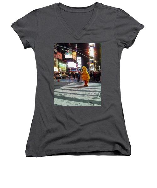 Big Bird On Times Square Women's V-Neck
