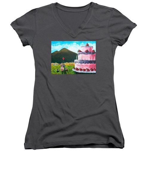 Big Birthday Surprise Women's V-Neck T-Shirt (Junior Cut) by Shana Rowe Jackson