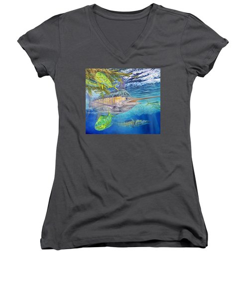 Big Blue Hunting In The Weeds Women's V-Neck T-Shirt