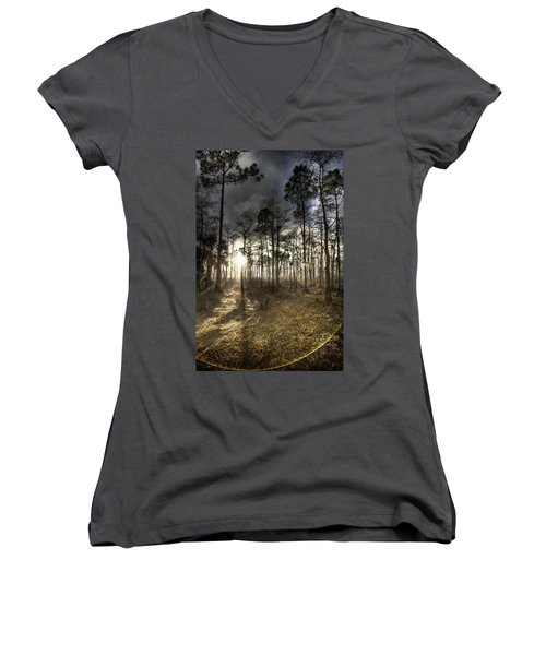Big Cypress Fire At Sunset Women's V-Neck (Athletic Fit)