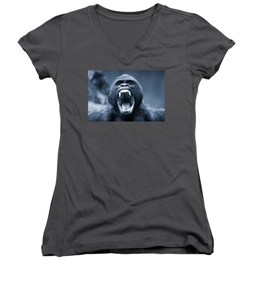 Big Gorilla Yawn Women's V-Neck T-Shirt