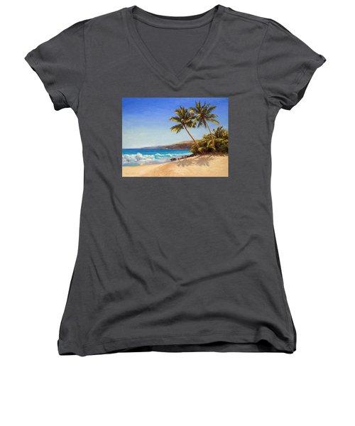 Hawaiian Beach Seascape - Big Island Getaway  Women's V-Neck