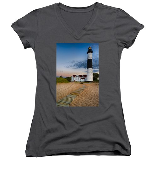 Big Sable Point Lighthouse Women's V-Neck (Athletic Fit)