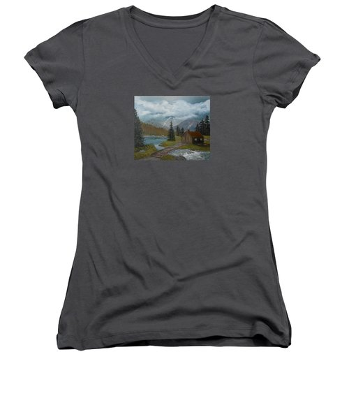 Women's V-Neck T-Shirt (Junior Cut) featuring the painting Big Storms A Comin' by Sheri Keith