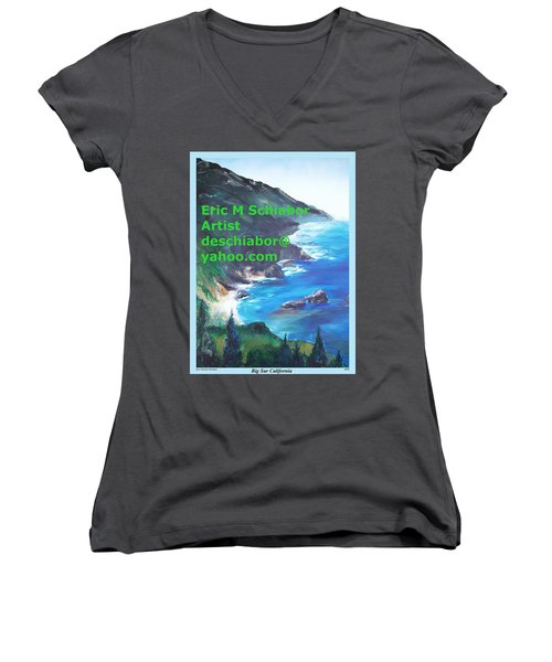 Big Sur Califorina Women's V-Neck T-Shirt (Junior Cut) by Eric  Schiabor