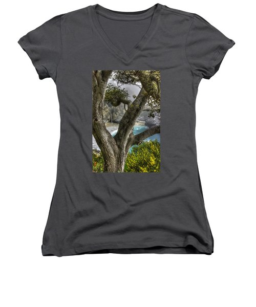Big Sur Mc Way Falls At Julia Pfeiffer State Park-1 Central California Coast Spring Early Afternoon Women's V-Neck (Athletic Fit)