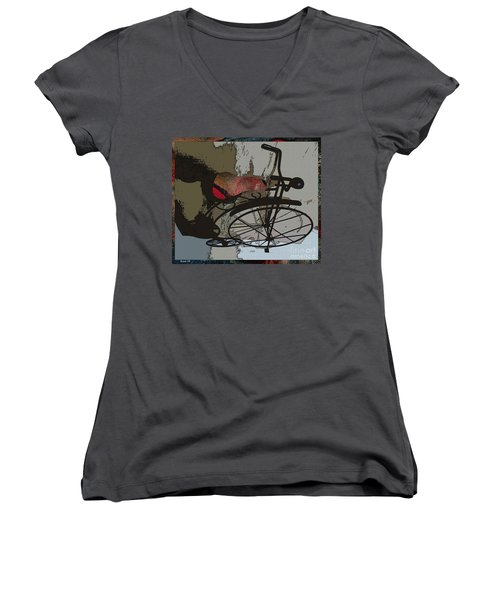 Women's V-Neck T-Shirt (Junior Cut) featuring the painting Bike Seat View by Ecinja