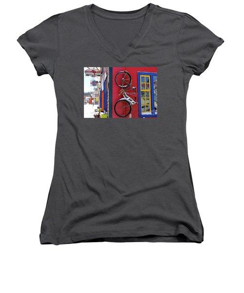 Bike Shop Women's V-Neck T-Shirt (Junior Cut) by Fiona Kennard