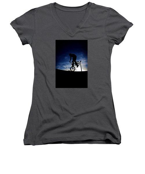 Bike Silhouette Women's V-Neck (Athletic Fit)