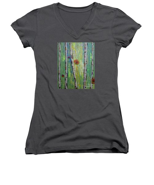 Birch - Lt. Green 5 Women's V-Neck T-Shirt (Junior Cut) by Jacqueline Athmann