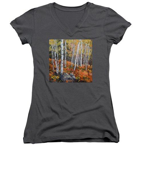 Birch Trees Women's V-Neck T-Shirt (Junior Cut) by Alexandra Maria Ethlyn Cheshire