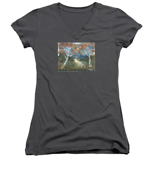 Birch Trees On The Ridge  Women's V-Neck (Athletic Fit)