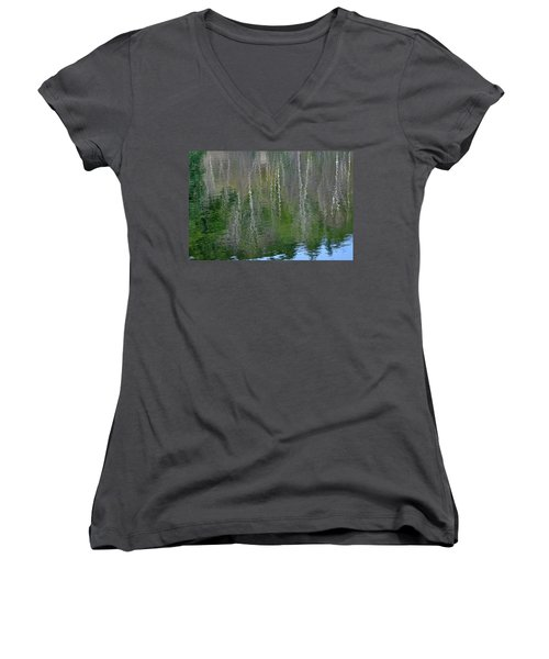 Birch Trees Reflected In Pond Women's V-Neck (Athletic Fit)