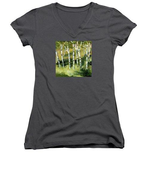 Birches On A Hill Women's V-Neck T-Shirt (Junior Cut) by Michelle Calkins