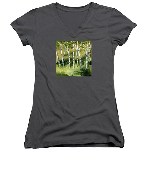 Birches On A Hill Women's V-Neck T-Shirt