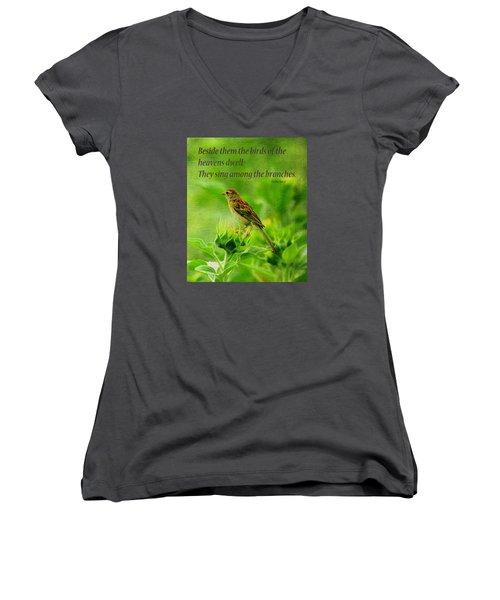 Bird In A Sunflower Field Scripture Women's V-Neck T-Shirt (Junior Cut) by Sandi OReilly