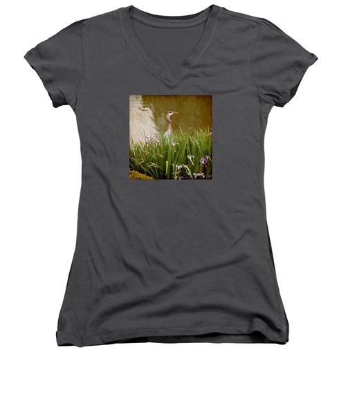 Women's V-Neck T-Shirt (Junior Cut) featuring the photograph Bird In The Water by Milena Ilieva