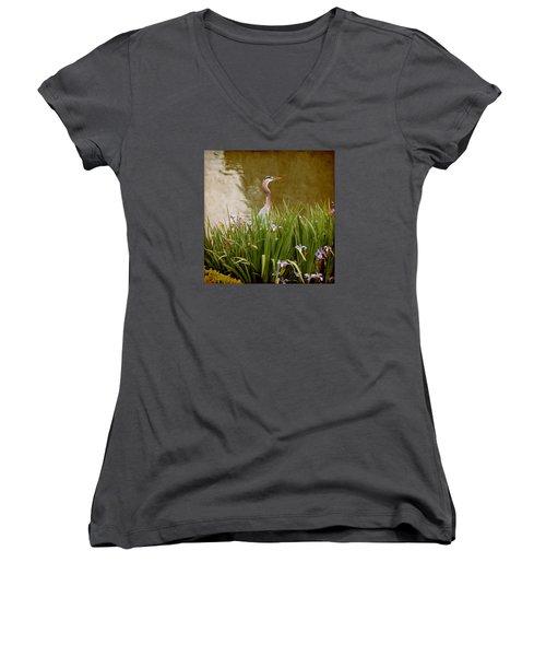 Bird In The Water Women's V-Neck T-Shirt (Junior Cut) by Milena Ilieva