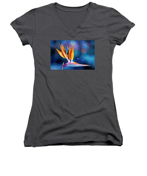 Bird Of Paradise Women's V-Neck T-Shirt (Junior Cut) by Gunter Nezhoda