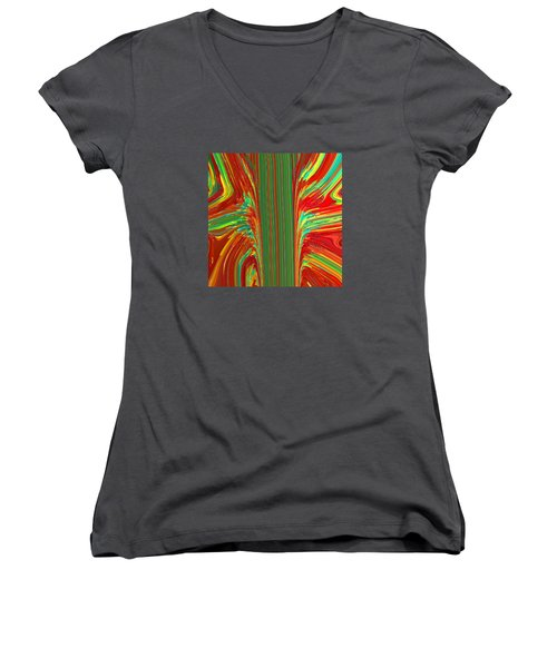 Women's V-Neck T-Shirt (Junior Cut) featuring the painting Bird Of Paradise I  C2014 by Paul Ashby