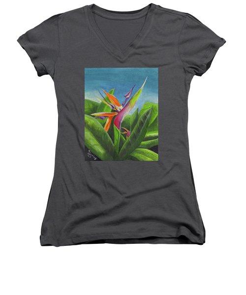 Hawaiian Bird Of Paradise Women's V-Neck