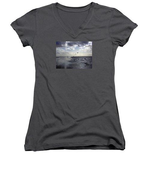Birds At The Beach 2 Women's V-Neck T-Shirt