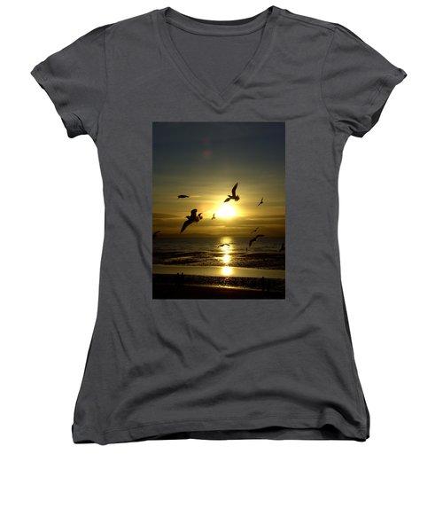 Birds Gathering At Sunset Women's V-Neck T-Shirt