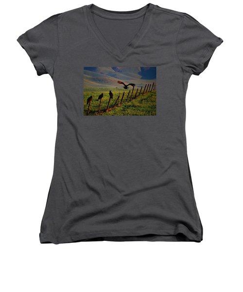 Women's V-Neck T-Shirt (Junior Cut) featuring the photograph Birds On A Fence by Matt Harang