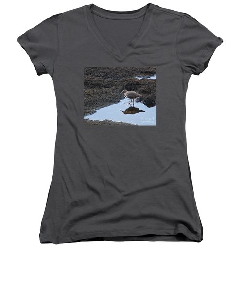 Women's V-Neck T-Shirt (Junior Cut) featuring the photograph Bird's Reflection by Belinda Greb