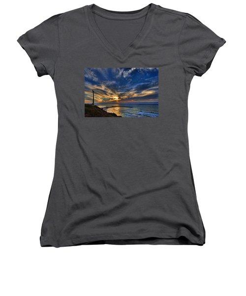 Women's V-Neck T-Shirt (Junior Cut) featuring the photograph Birdy Bird At Hilton Beach by Ron Shoshani