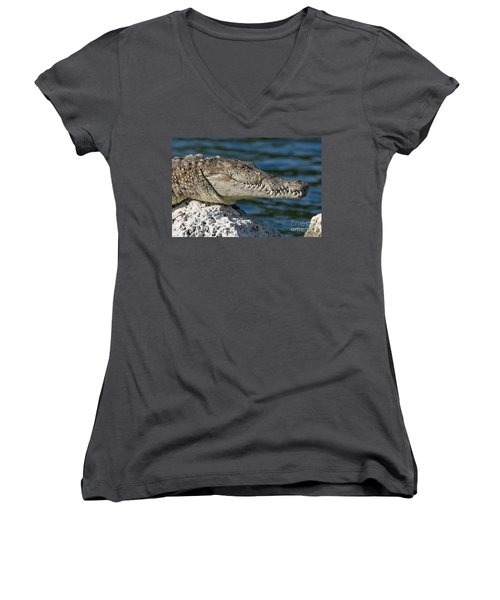 Women's V-Neck T-Shirt (Junior Cut) featuring the photograph Biscayne National Park Florida American Crocodile by Paul Fearn