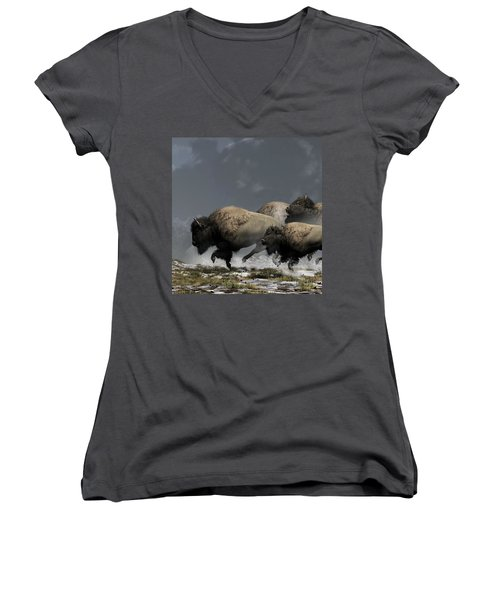 Bison Stampede Women's V-Neck (Athletic Fit)