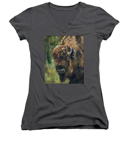 Bison Study - Zero Three Women's V-Neck T-Shirt (Junior Cut) by Lori Brackett